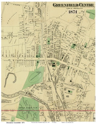 Greenfield Centre, Massachusetts 1871 Old Town Map Reprint - Franklin Co.