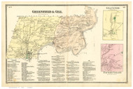 Greenfield and Gill, Massachusetts 1871 Old Town Map Reprint - Franklin Co.
