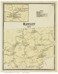 Hawley & Hawley Village, Massachusetts 1871 Old Town Map Reprint - Franklin Co.
