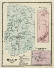 Heath, Heath Centre & Rowe Centre, Massachusetts 1871 Old Town Map Reprint - Franklin Co.