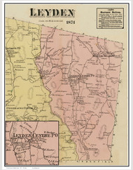 Leyden, Massachusetts 1871 Old Town Map Reprint - Franklin Co.