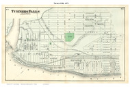 Turners Falls - Montague, Massachusetts 1871 Old Town Map Reprint - Franklin Co.