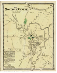 Montague Centre, Massachusetts 1871 Old Town Map Reprint - Franklin Co.