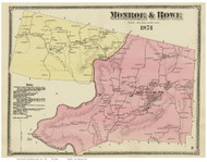 Monroe & Rowe, Massachusetts 1871 Old Town Map Reprint - Franklin Co.