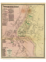 Shelburne Falls, Massachusetts 1871 Old Town Map Reprint - Franklin Co.