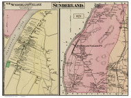 Sunderland & Sunderland Village, Massachusetts 1871 Old Town Map Reprint - Franklin Co.