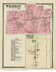 Whately & Whately Centre, Massachusetts 1871 Old Town Map Reprint - Franklin Co.