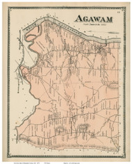 Agawam, Massachusetts 1870 Old Town Map Reprint - Hampden Co.