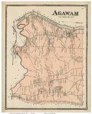 Agawam, Massachusetts 1870 Old Town Map Reprint - Hampden Co.