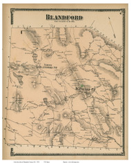 Blandford, Massachusetts 1870 Old Town Map Reprint - Hampden Co.