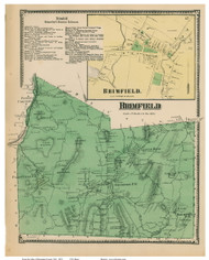 Brimfield & Brimfield Village, Massachusetts 1870 Old Town Map Reprint - Hampden Co.
