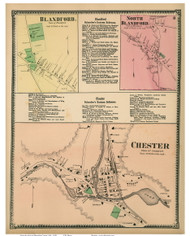 Chester Village, Blandford Village & North Blandford, Massachusetts 1870 Old Town Map Reprint - Hampden Co.