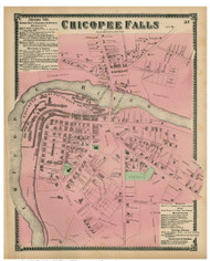 Chicopee Falls, Massachusetts 1870 Old Town Map Reprint - Hampden Co.