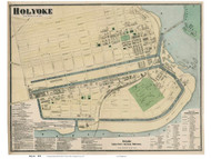 Holyoke Downtown - Custom, Massachusetts 1870 Old Town Map Reprint - Hampden Co.