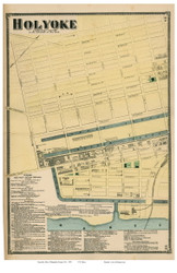 Holyoke Downtown - Western Part, Massachusetts 1870 Old Town Map Reprint - Hampden Co.