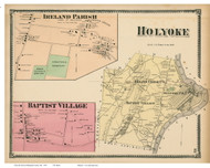Holyoke Town, Ireland Parish & Baptist Villages, Massachusetts 1870 Old Town Map Reprint - Hampden Co.