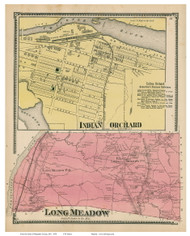 Longmeadow & Indian Orchard, Massachusetts 1870 Old Town Map Reprint - Hampden Co.