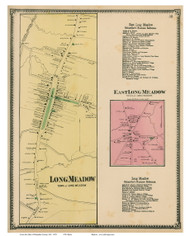 Longmeadow Village & East Longmeadow, Massachusetts 1870 Old Town Map Reprint - Hampden Co.