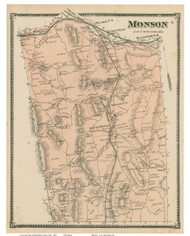 Monson, Massachusetts 1870 Old Town Map Reprint - Hampden Co.