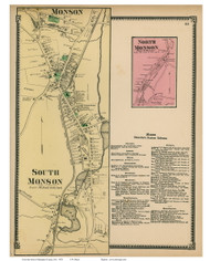 South Monson & North Monson, Massachusetts 1870 Old Town Map Reprint - Hampden Co.