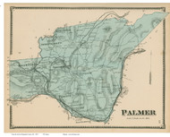 Palmer, Massachusetts 1870 Old Town Map Reprint - Hampden Co.