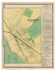 Palmer City & Business Directory, Massachusetts 1870 Old Town Map Reprint - Hampden Co.