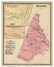 Russell, Russell Village & West Granville, Massachusetts 1870 Old Town Map Reprint - Hampden Co.