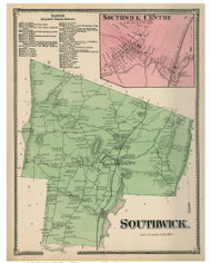 Southwick & Southwick Centre, Massachusetts 1870 Old Town Map Reprint - Hampden Co.