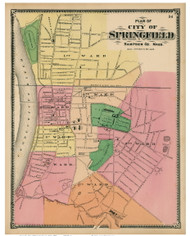 Springfield Downtown, Massachusetts 1870 Old Town Map Reprint - Hampden Co.