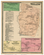 Tolland, Tolland Centre, East Granville & Granville Corners, Massachusetts 1870 Old Town Map Reprint - Hampden Co.