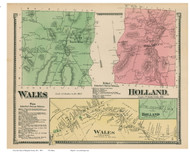 Wales & Holland, Massachusetts 1870 Old Town Map Reprint - Hampden Co.