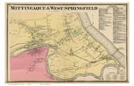 Mittineaque & West Springfield City - West Springfield, Massachusetts 1870 Old Town Map Reprint - Hampden Co.
