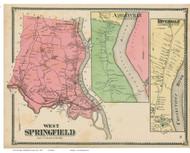 West Springfield, Ashleyville & Riverdale, Massachusetts 1870 Old Town Map Reprint - Hampden Co.