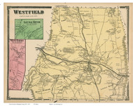 Westfield, Little River & West Farms, Massachusetts 1870 Old Town Map Reprint - Hampden Co.