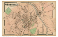 Westfield Downtown, Massachusetts 1870 Old Town Map Reprint - Hampden Co.