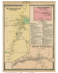 Wlibraham Village, South Wilbraham & Collins Depot, Massachusetts 1870 Old Town Map Reprint - Hampden Co.
