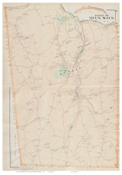Monson, Massachusetts 1894 Old Town Map Reprint - Hampden Co.