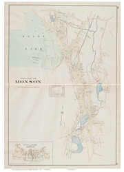 Monson Village, Massachusetts 1894 Old Town Map Reprint - Hampden Co.