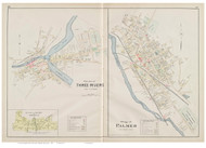 Palmer and Three Rivers Villages, Massachusetts 1894 Old Town Map Reprint - Hampden Co.