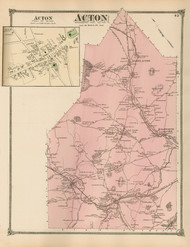 Acton and Acton Village, Massachusetts 1875 Old Town Map Reprint - Middlesex Co.