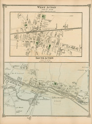 West Acton and South Acton, Massachusetts 1875 Old Town Map Reprint - Middlesex Co.