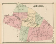 Ashland, Massachusetts 1875 Old Town Map Reprint - Middlesex Co.