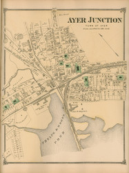 Ayer Junction, Massachusetts 1875 Old Town Map Reprint - Middlesex Co.