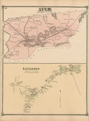 Ayer and Littleton Village, Massachusetts 1875 Old Town Map Reprint - Middlesex Co.