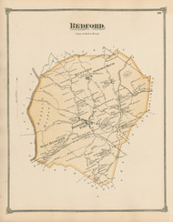 Bedford, Massachusetts 1875 Old Town Map Reprint - Middlesex Co.