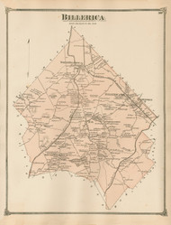 Billerica, Massachusetts 1875 Old Town Map Reprint - Middlesex Co.