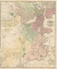 Boston, Massachusetts 1875 Old Town Map Reprint - Middlesex Co.