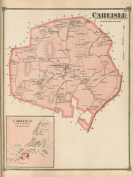Carlisle and Carlisle Village, Massachusetts 1875 Old Town Map Reprint - Middlesex Co.