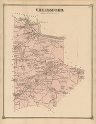 Chelmsford, Massachusetts 1875 Old Town Map Reprint - Middlesex Co.