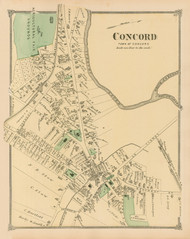 Concord Village, Massachusetts 1875 Old Town Map Reprint - Middlesex Co.